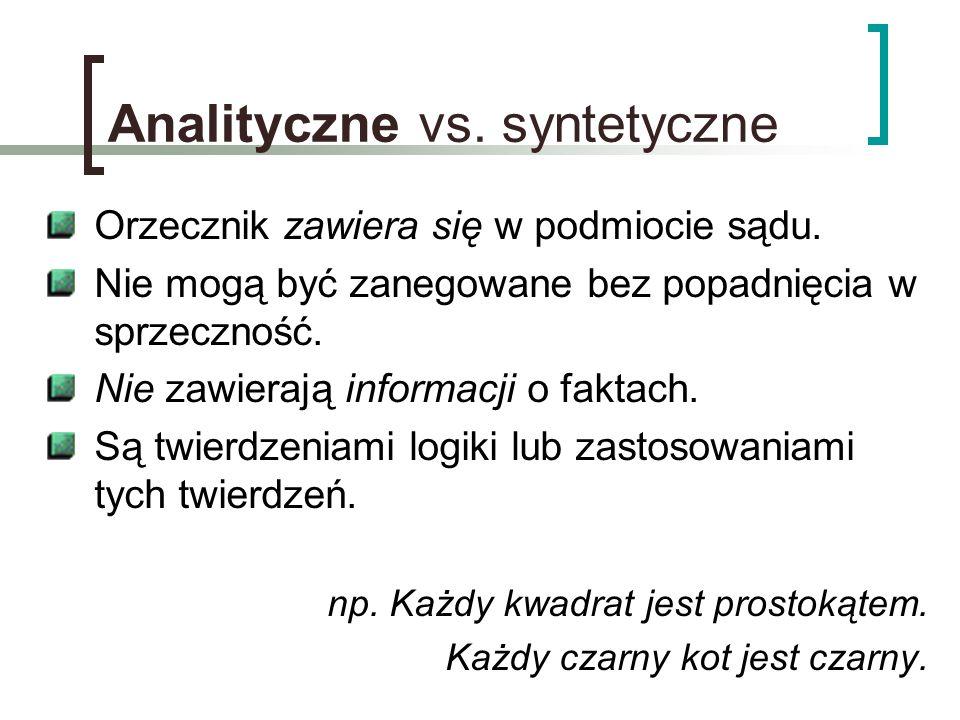Analityczne vs. syntetyczne Orzecznik zawiera się w podmiocie sądu. Nie mogą być zanegowane bez popadnięcia w sprzeczność. Nie zawierają informacji o