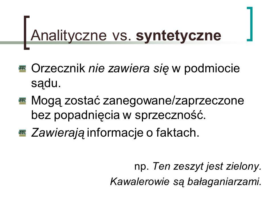 Analityczne vs. syntetyczne Orzecznik nie zawiera się w podmiocie sądu. Mogą zostać zanegowane/zaprzeczone bez popadnięcia w sprzeczność. Zawierają in