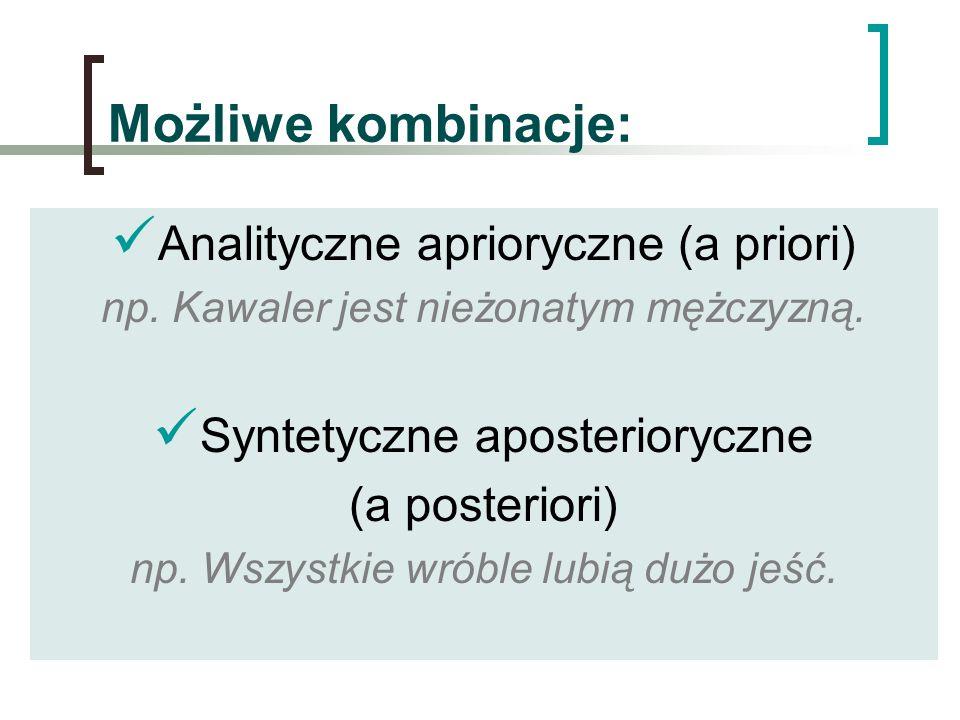 Możliwe kombinacje: Analityczne aprioryczne (a priori) np. Kawaler jest nieżonatym mężczyzną. Syntetyczne aposterioryczne (a posteriori) np. Wszystkie