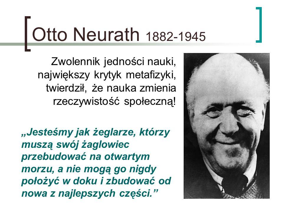 """Otto Neurath 1882-1945 Zwolennik jedności nauki, największy krytyk metafizyki, twierdził, że nauka zmienia rzeczywistość społeczną! """"Jesteśmy jak żegl"""