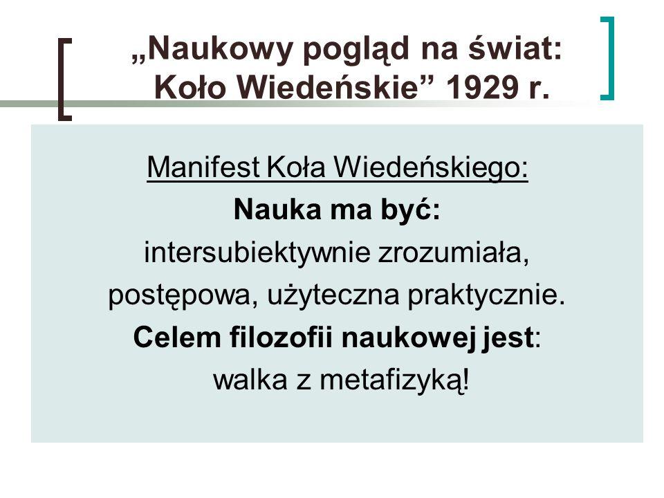 """""""Naukowy pogląd na świat: Koło Wiedeńskie"""" 1929 r. Manifest Koła Wiedeńskiego: Nauka ma być: intersubiektywnie zrozumiała, postępowa, użyteczna prakty"""