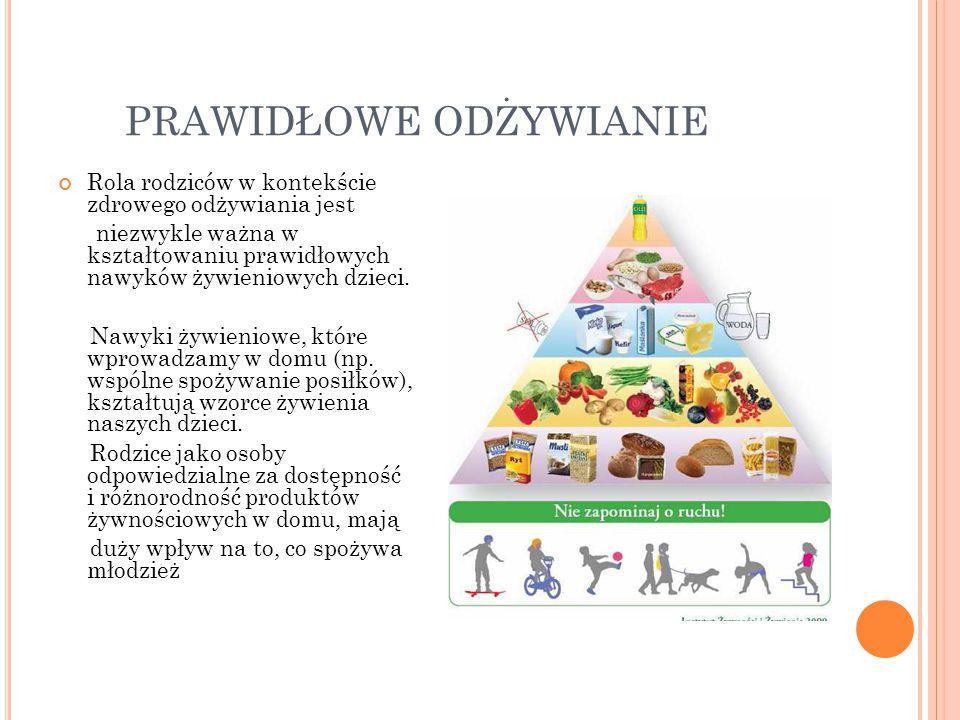 PRAWIDŁOWE ODŻYWIANIE Rola rodziców w kontekście zdrowego odżywiania jest niezwykle ważna w kształtowaniu prawidłowych nawyków żywieniowych dzieci. Na