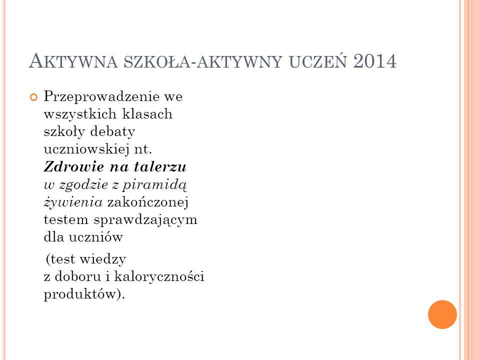 A KTYWNA SZKOŁA - AKTYWNY UCZEŃ 2014 Przeprowadzenie we wszystkich klasach szkoły debaty uczniowskiej nt.