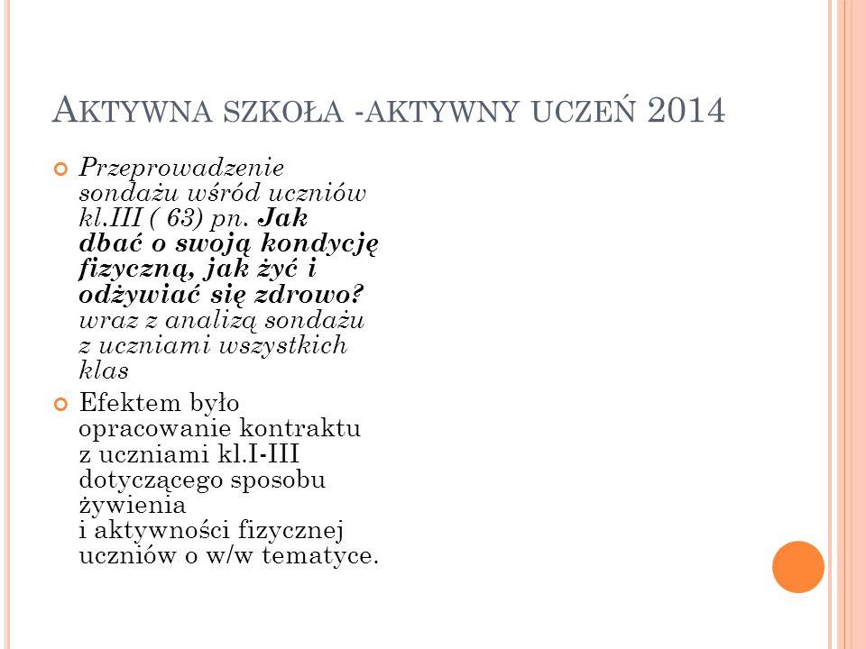 A KTYWNA SZKOŁA - AKTYWNY UCZEŃ 2014 Przeprowadzenie sondażu wśród uczniów kl.III ( 63) pn.