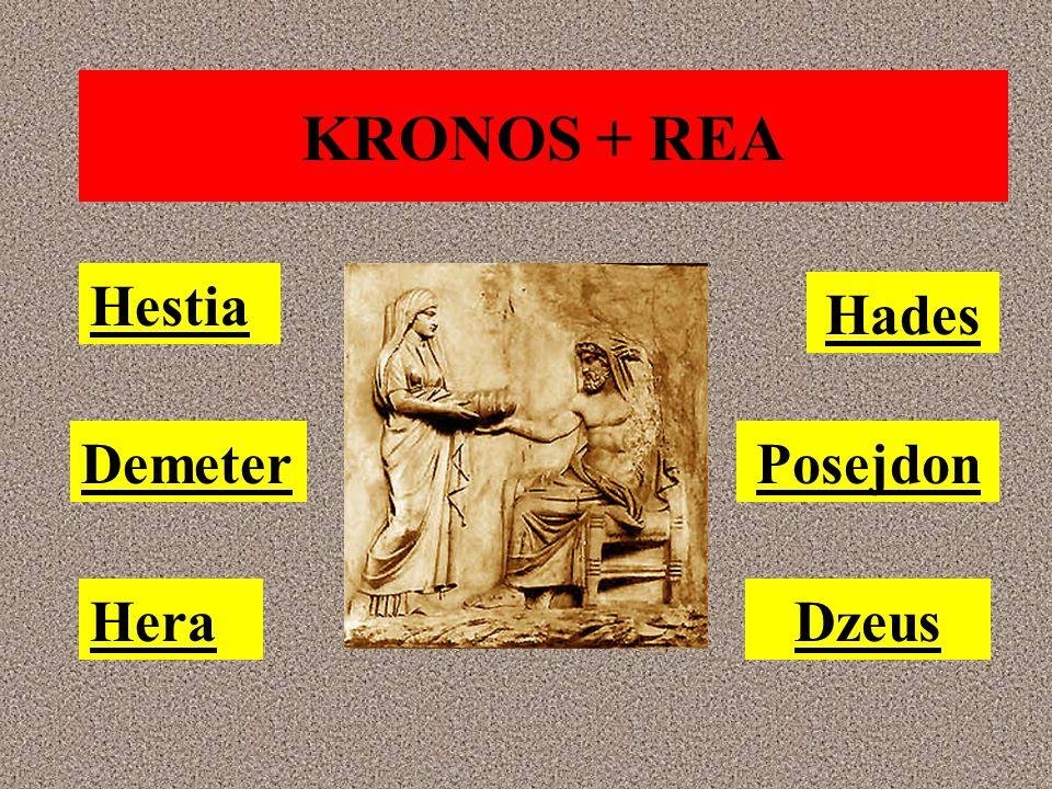 KRONOS + REA Posejdon Hades Hera Demeter Hestia Dzeus