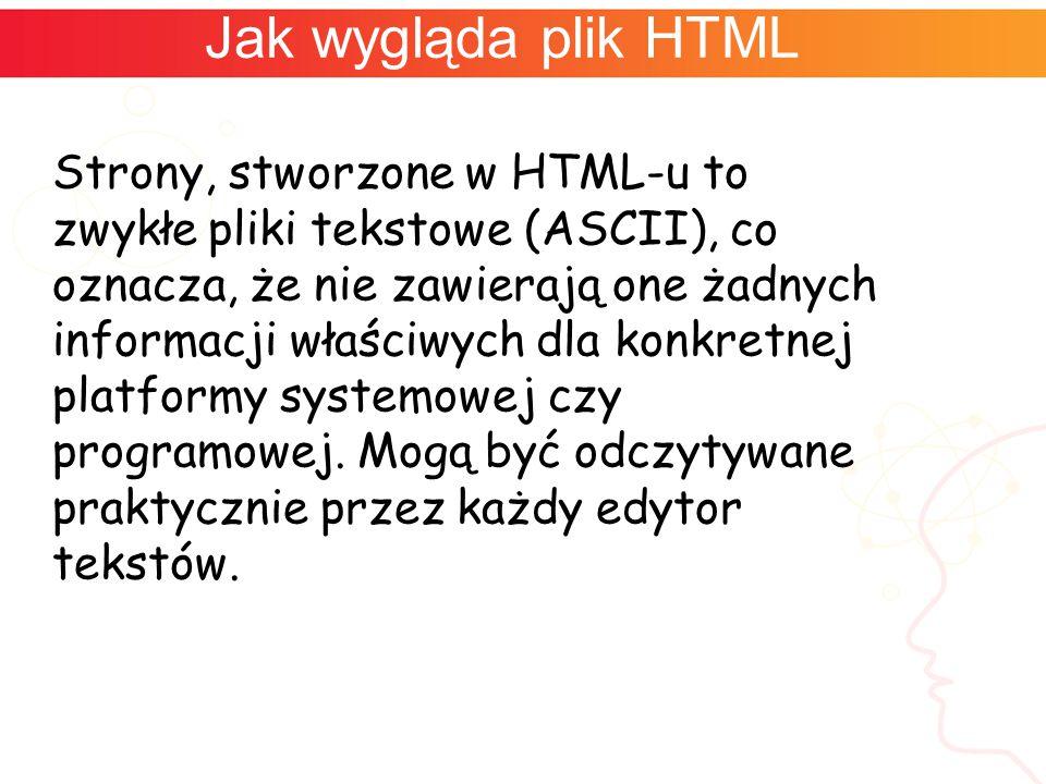 Jak wygląda plik HTML Strony, stworzone w HTML-u to zwykłe pliki tekstowe (ASCII), co oznacza, że nie zawierają one żadnych informacji właściwych dla konkretnej platformy systemowej czy programowej.