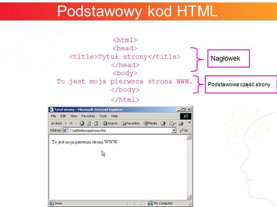 Podstawowy kod HTML Tytuł strony To jest moja pierwsza strona WWW. Nagłówek Podstawowa część strony