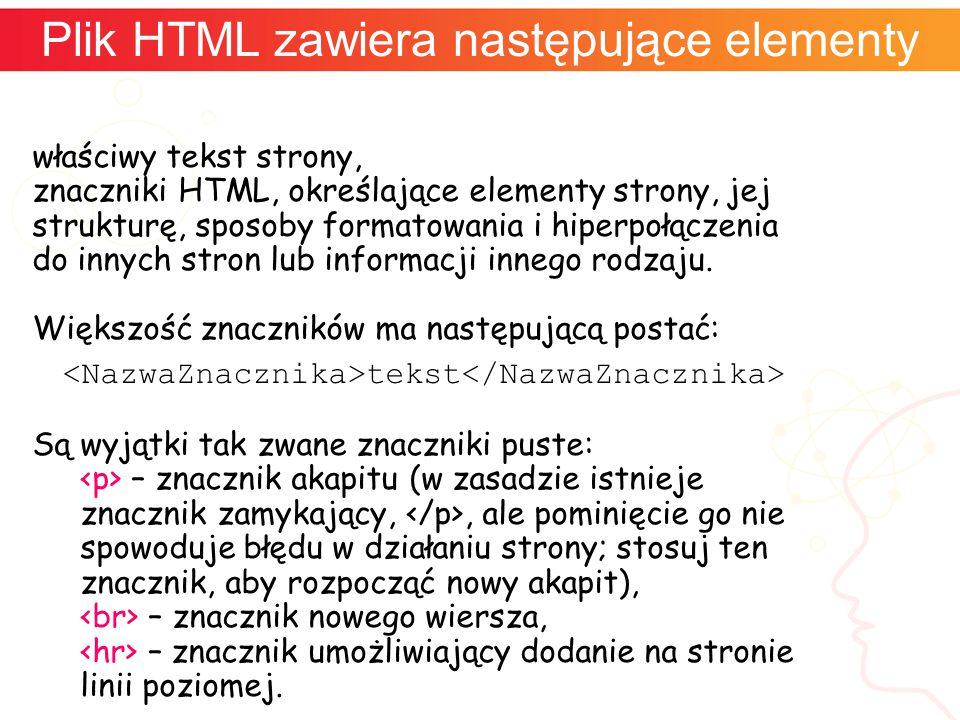 właściwy tekst strony, znaczniki HTML, określające elementy strony, jej strukturę, sposoby formatowania i hiperpołączenia do innych stron lub informac