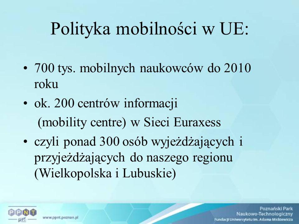 Polityka mobilności w UE: 700 tys. mobilnych naukowców do 2010 roku ok. 200 centrów informacji (mobility centre) w Sieci Euraxess czyli ponad 300 osób