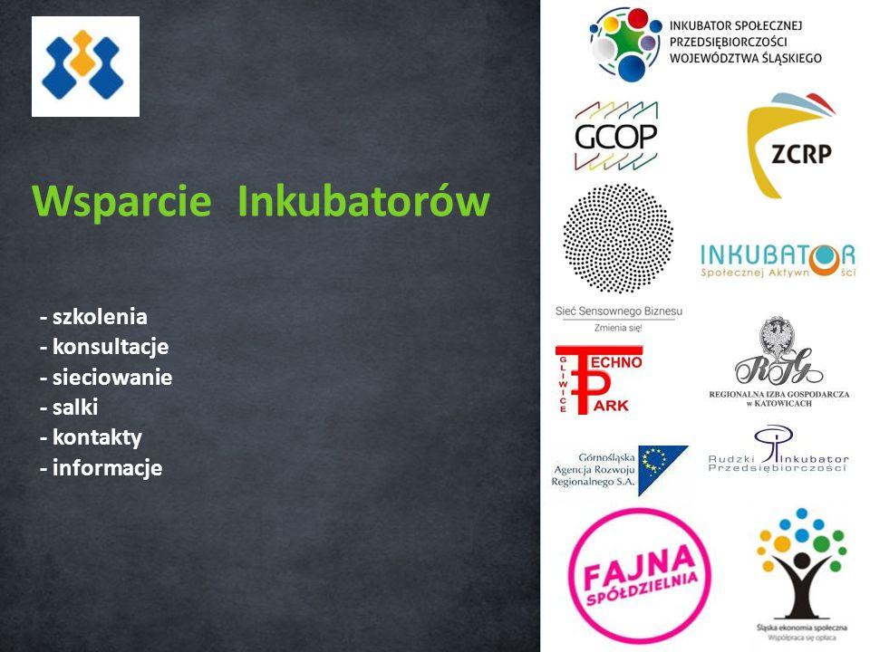 Wsparcie Inkubatorów - szkolenia - konsultacje - sieciowanie - salki - kontakty - informacje