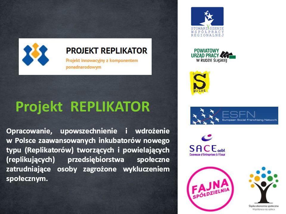 Opracowanie, upowszechnienie i wdrożenie w Polsce zaawansowanych inkubatorów nowego typu (Replikatorów) tworzących i powielających (replikujących) przedsiębiorstwa społeczne zatrudniające osoby zagrożone wykluczeniem społecznym.