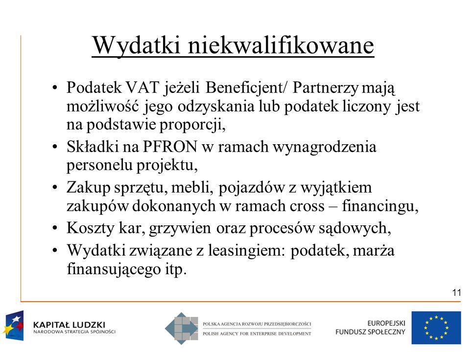 11 Wydatki niekwalifikowane Podatek VAT jeżeli Beneficjent/ Partnerzy mają możliwość jego odzyskania lub podatek liczony jest na podstawie proporcji,