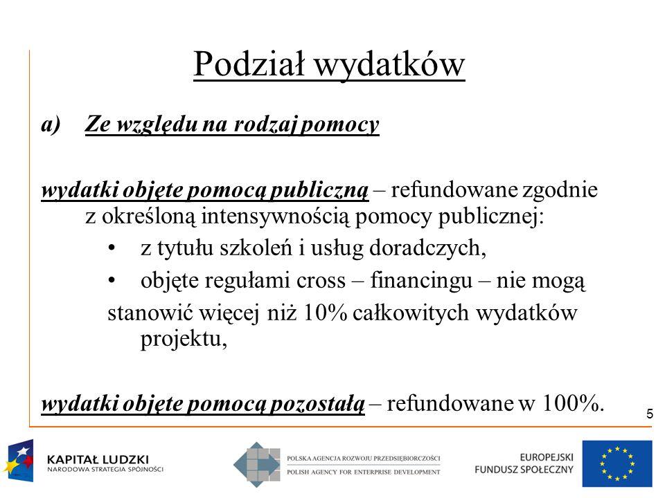 6 Podział wydatków b) Ze względu na konstrukcję budżetu projektu: wydatki bezpośrednie – bezpośrednio związane z realizacją projektu i wyodrębnionymi zadaniami, wydatki pośrednie – nie można ich bezpośrednio przyporządkować do konkretnego zadania: do 20% kosztów bezpośrednich dla projektów do 2 mln PLN, do 15% kosztów bezpośrednich dla projektów do 5 mln PLN, do 10% kosztów bezpośrednich dla projektów pow.