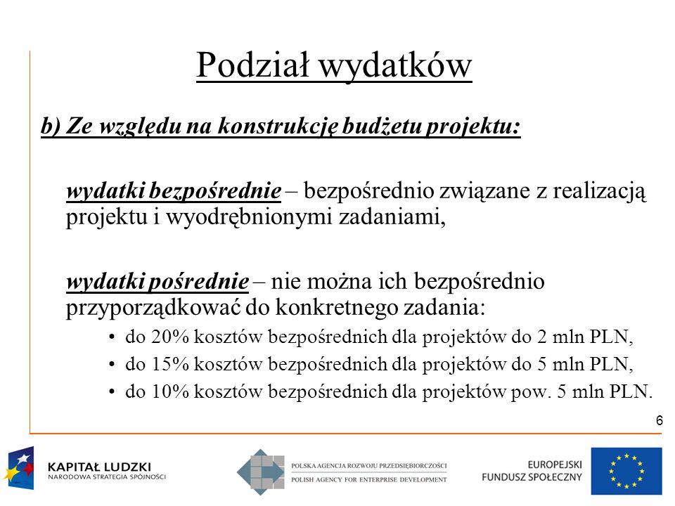 6 Podział wydatków b) Ze względu na konstrukcję budżetu projektu: wydatki bezpośrednie – bezpośrednio związane z realizacją projektu i wyodrębnionymi