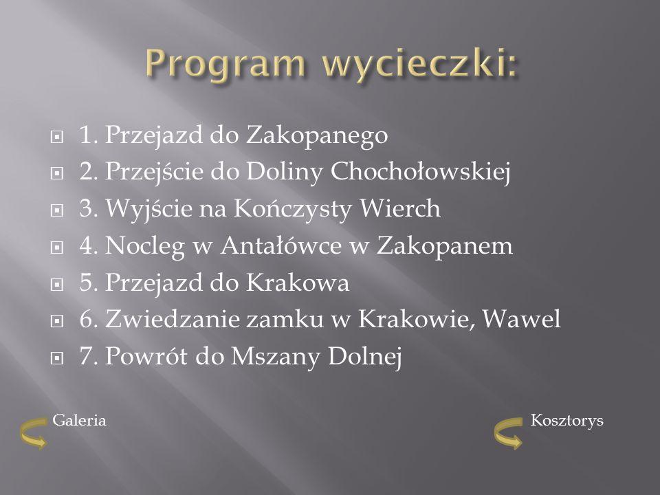  1. Przejazd do Zakopanego  2. Przejście do Doliny Chochołowskiej  3.