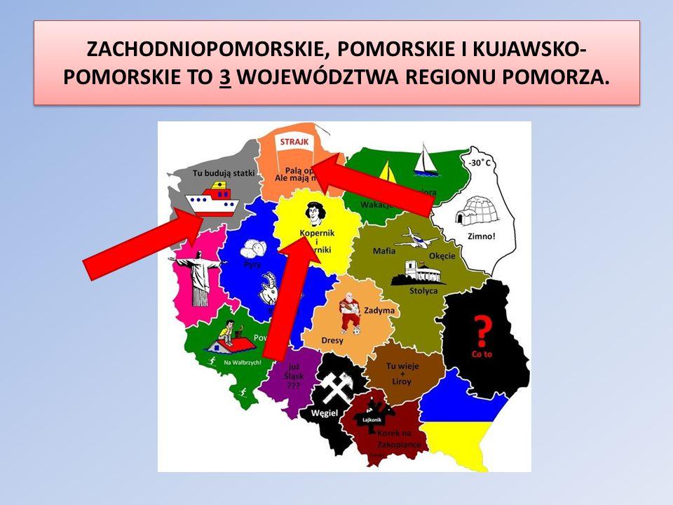ZACHODNIOPOMORSKIE, POMORSKIE I KUJAWSKO- POMORSKIE TO 3 WOJEWÓDZTWA REGIONU POMORZA.