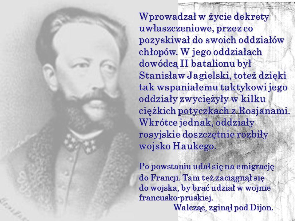 Zrozumiał położenie Polaków i całym sercem chciał się z nimi utożsamić, toteż przystąpił on do powstańców styczniowych, broniąc ich godności i suwerenności.