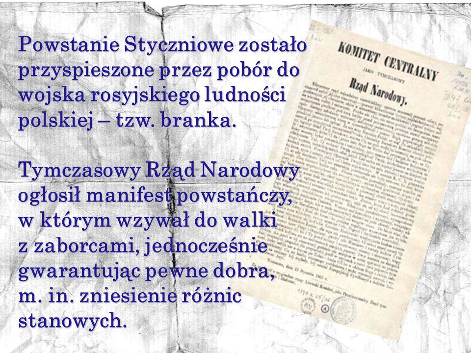 Przyczyną Powstania Styczniowego był nasilający się rosyjski ucisk narodowy na Polaków. Sam wybuch został poprzedzony wieloma manifestacjami patriotyc