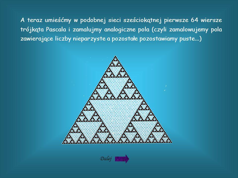 A teraz umieśćmy w podobnej sieci sześciokątnej pierwsze 64 wiersze trójkąta Pascala i zamalujmy analogiczne pola (czyli zamalowujemy pola zawierające liczby nieparzyste a pozostałe pozostawiamy puste...) Dalej
