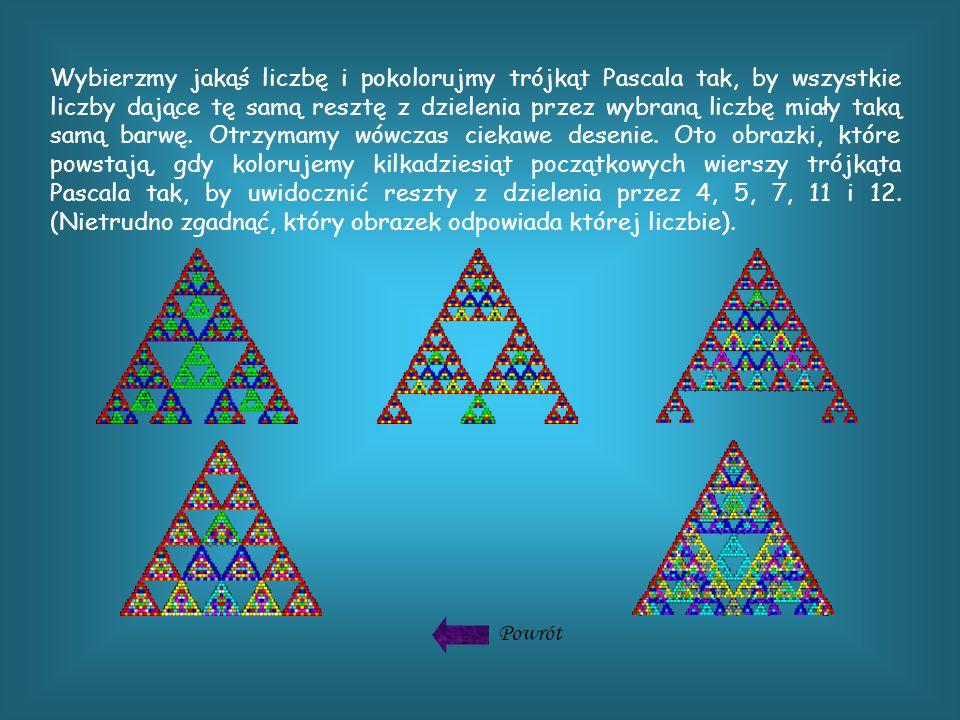 Wybierzmy jakąś liczbę i pokolorujmy trójkąt Pascala tak, by wszystkie liczby dające tę samą resztę z dzielenia przez wybraną liczbę miały taką samą barwę.