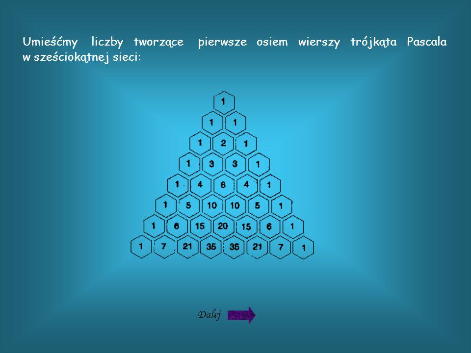 Umieśćmy liczby tworzące pierwsze osiem wierszy trójkąta Pascala w sześciokątnej sieci: Dalej