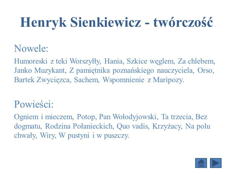 Henryk Sienkiewicz - twórczość Nowele: Humoreski z teki Worszyłły, Hania, Szkice węglem, Za chlebem, Janko Muzykant, Z pamiętnika poznańskiego nauczyciela, Orso, Bartek Zwycięzca, Sachem, Wspomnienie z Maripozy.