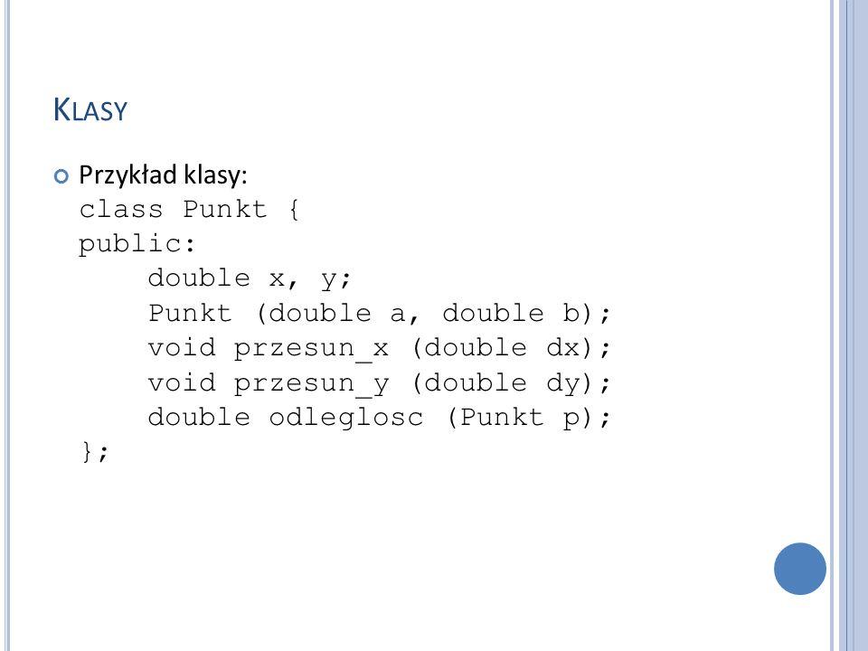 K LASY Przykład klasy: class Punkt { public: double x, y; Punkt (double a, double b); void przesun_x (double dx); void przesun_y (double dy); double odleglosc (Punkt p); };