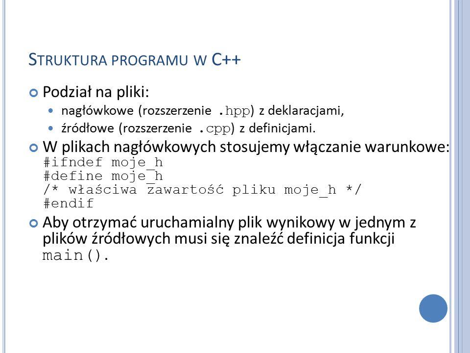 S TRUKTURA PROGRAMU W C++ Podział na pliki: nagłówkowe (rozszerzenie.hpp ) z deklaracjami, źródłowe (rozszerzenie.cpp ) z definicjami.