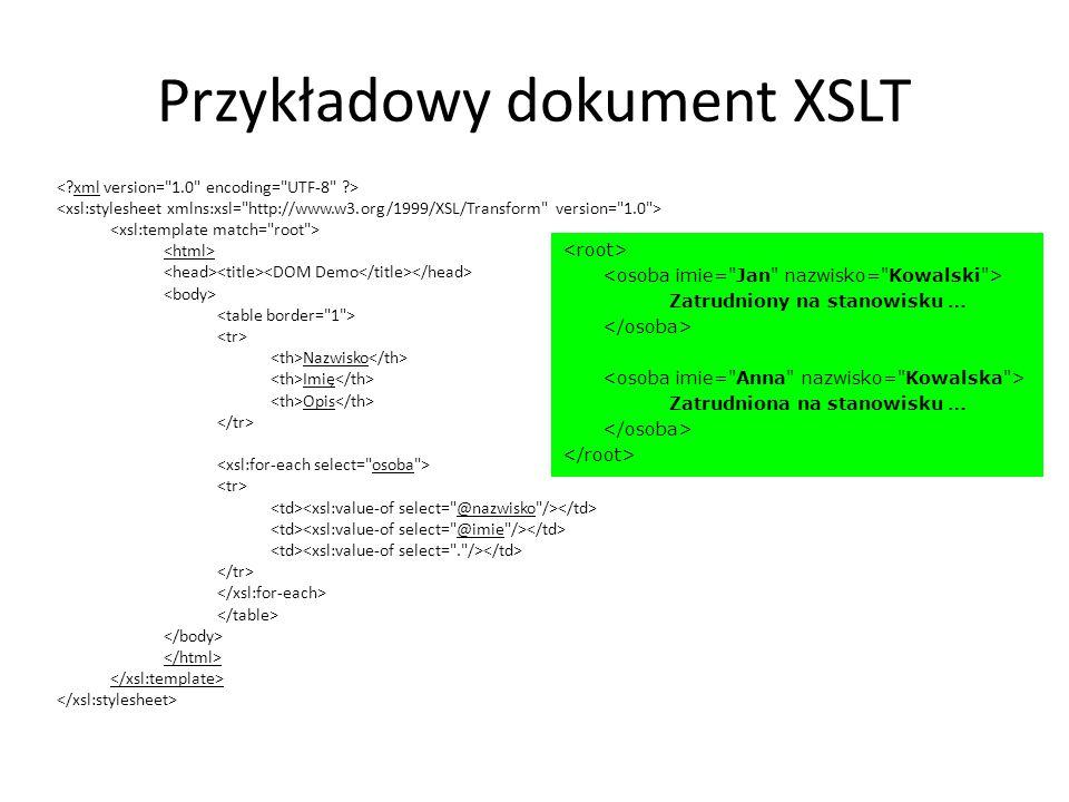 Przykładowy dokument XSLT Nazwisko Imię Opis Zatrudniony na stanowisku … Zatrudniona na stanowisku …