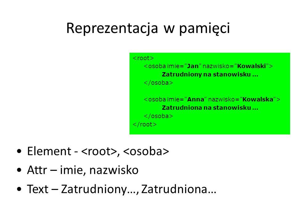 Reprezentacja w pamięci Element -, Attr – imie, nazwisko Text – Zatrudniony…, Zatrudniona… Zatrudniony na stanowisku … Zatrudniona na stanowisku …
