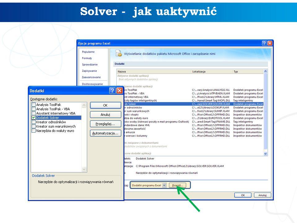 Solver - jak uaktywnić