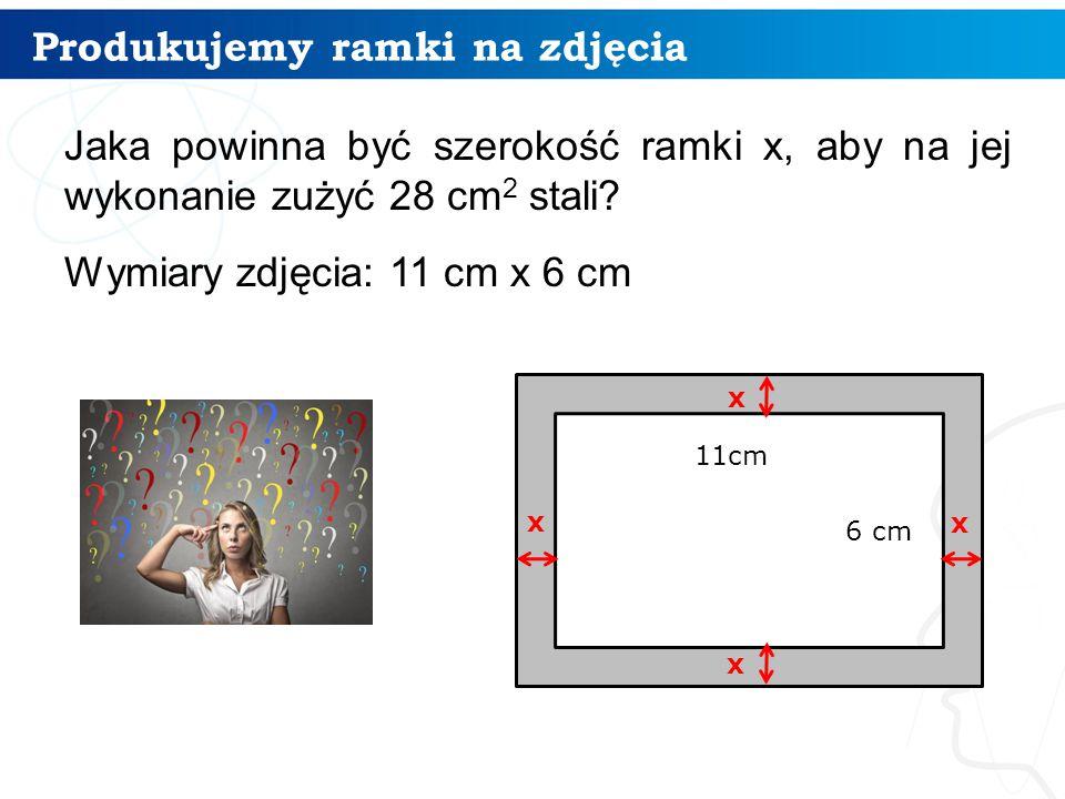 Produkujemy ramki na zdjęcia Jaka powinna być szerokość ramki x, aby na jej wykonanie zużyć 28 cm 2 stali.