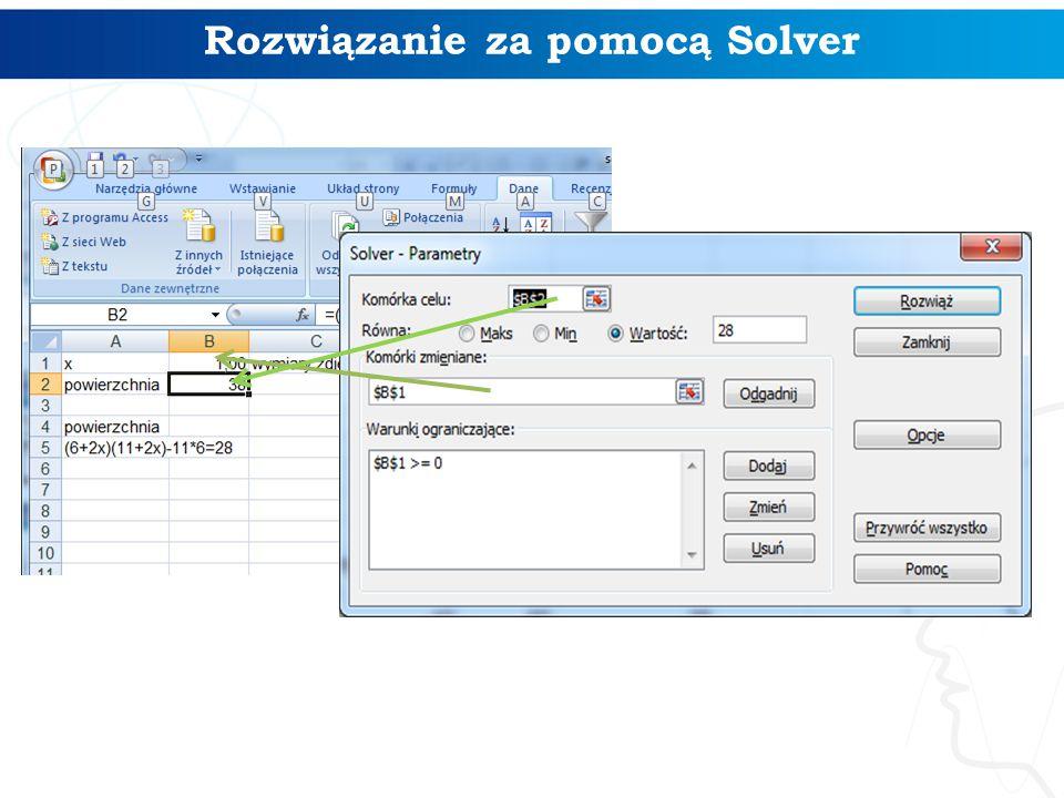 Rozwiązanie za pomocą Solver
