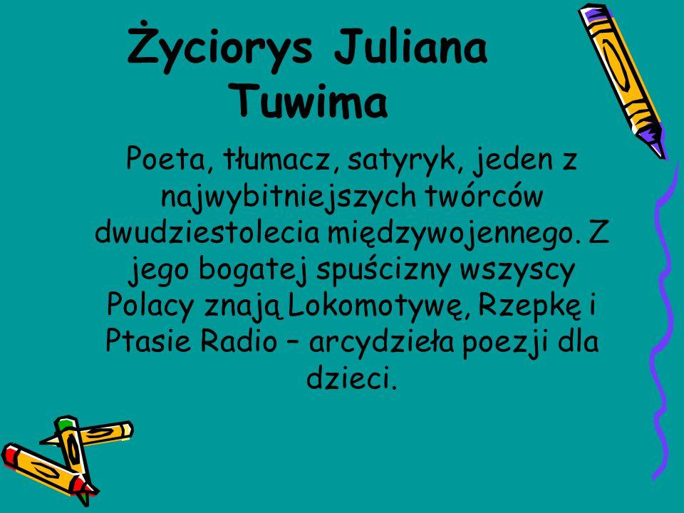 Życiorys Juliana Tuwima Poeta, tłumacz, satyryk, jeden z najwybitniejszych twórców dwudziestolecia międzywojennego. Z jego bogatej spuścizny wszyscy P