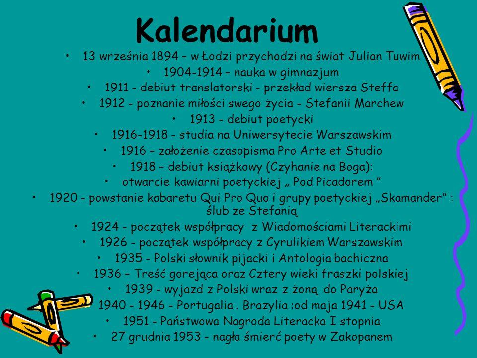 Kalendarium 13 września 1894 – w Łodzi przychodzi na świat Julian Tuwim 1904-1914 – nauka w gimnazjum 1911 - debiut translatorski - przekład wiersza S