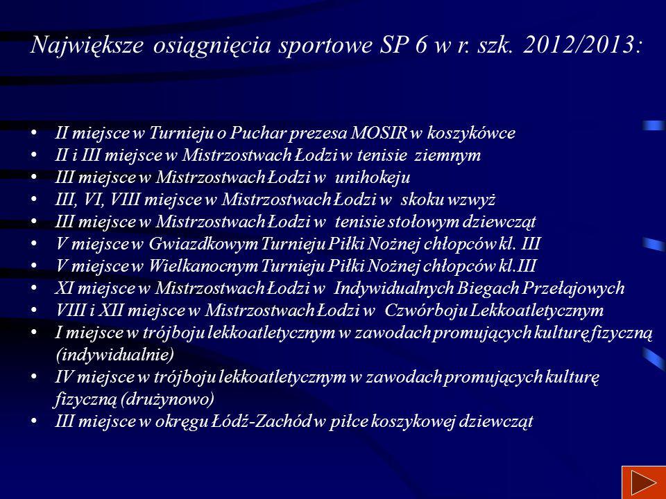 Największe osiągnięcia sportowe SP 6 w r. szk. 2011/2012: II miejsce w Mistrzostwach Łodzi Szkół Podstawowych w unihokeju chłopców, II miejsce w Łódzk