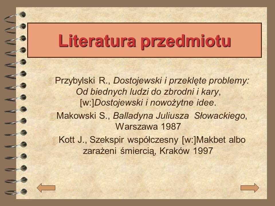 Literatura przedmiotu  Przybylski R., Dostojewski i przeklęte problemy: Od biednych ludzi do zbrodni i kary, [w:]Dostojewski i nowożytne idee.