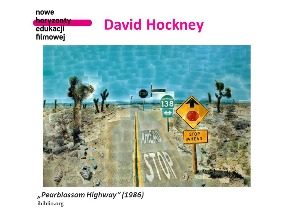 "David Hockney ""Pearblossom Highway (1986) ibiblio.org"