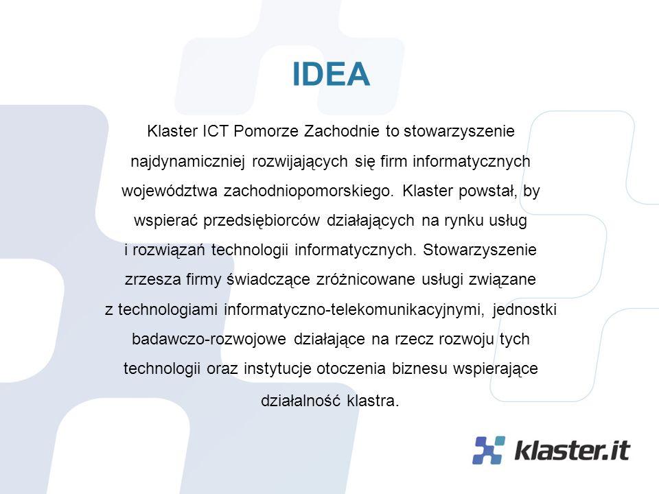 WSPÓŁPRACA  z najlepszymi firmami IT i naukowcami w regionie  dostęp do sieci kontaktów biznesowych najaktywniejszych menedżerów przedsiębiorstw IT w regionie  wspólny udział w konferencjach branżowych  informatyczne zabezpieczenie prowadzenia innowacyjnych projektów klastrów (FKZ)  wspólna promocja, publikacje, kanały dystrybucji informacji marketingowych  wspólne forum finansowania projektów klastrowych