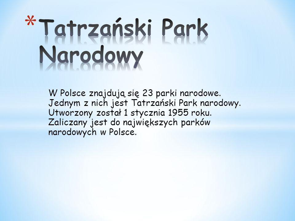 W Polsce znajdują się 23 parki narodowe. Jednym z nich jest Tatrzański Park narodowy. Utworzony został 1 stycznia 1955 roku. Zaliczany jest do najwięk