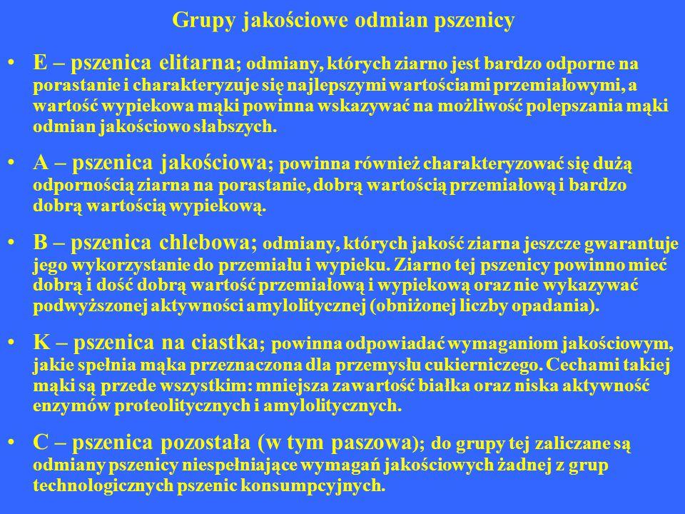 Grupy jakościowe odmian pszenicy E – pszenica elitarna ; odmiany, których ziarno jest bardzo odporne na porastanie i charakteryzuje się najlepszymi wa