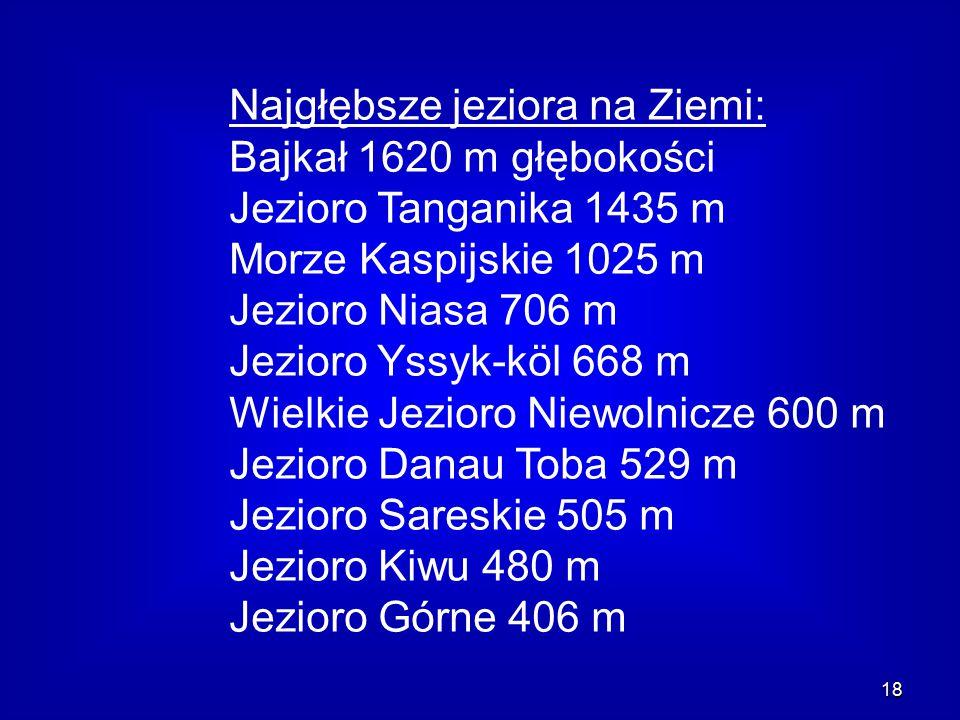 18 Najgłębsze jeziora na Ziemi: Bajkał 1620 m głębokości Jezioro Tanganika 1435 m Morze Kaspijskie 1025 m Jezioro Niasa 706 m Jezioro Yssyk-köl 668 m Wielkie Jezioro Niewolnicze 600 m Jezioro Danau Toba 529 m Jezioro Sareskie 505 m Jezioro Kiwu 480 m Jezioro Górne 406 m