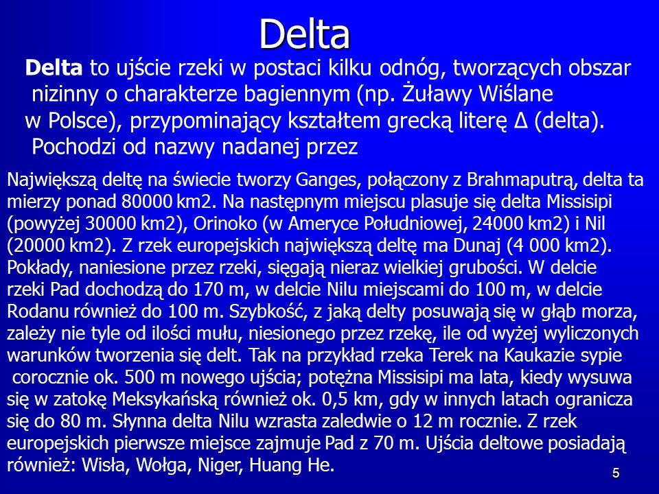 5 Delta Delta to ujście rzeki w postaci kilku odnóg, tworzących obszar nizinny o charakterze bagiennym (np.