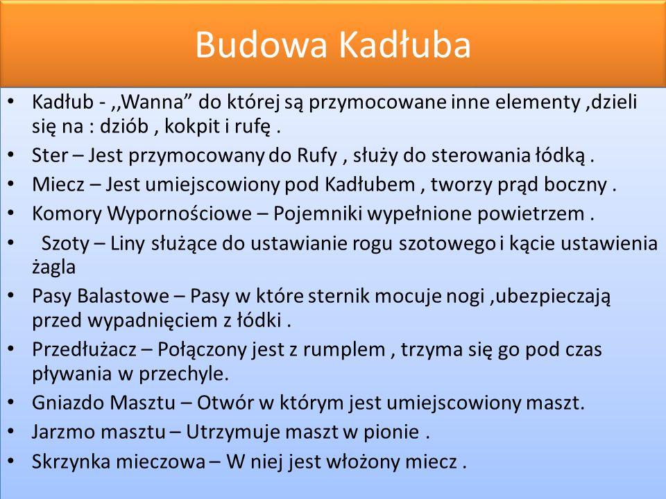 Budowa Kadłuba Kadłub -,,Wanna do której są przymocowane inne elementy,dzieli się na : dziób, kokpit i rufę.
