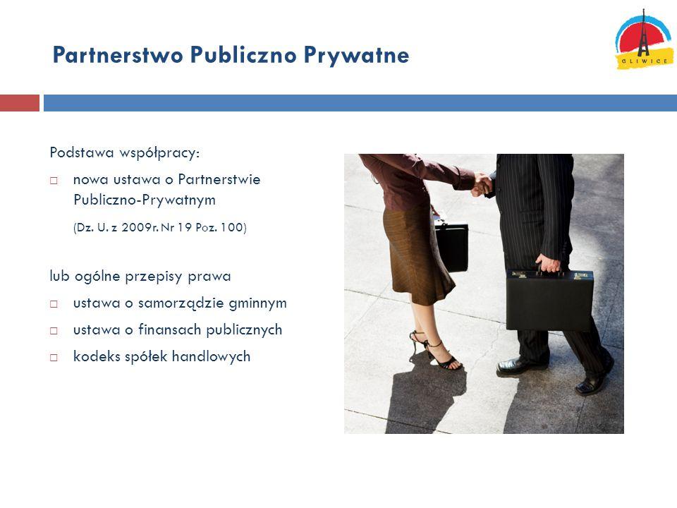 Partnerstwo Publiczno Prywatne Podstawa współpracy:  nowa ustawa o Partnerstwie Publiczno-Prywatnym (Dz. U. z 2009r. Nr 19 Poz. 100) lub ogólne przep