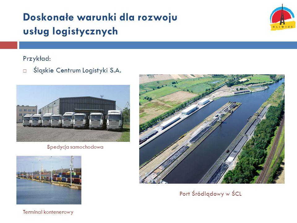 Doskonałe warunki dla rozwoju usług logistycznych Przykład:  Śląskie Centrum Logistyki S.A. Port Śródlądowy w ŚCL Terminal kontenerowy Spedycja samoc