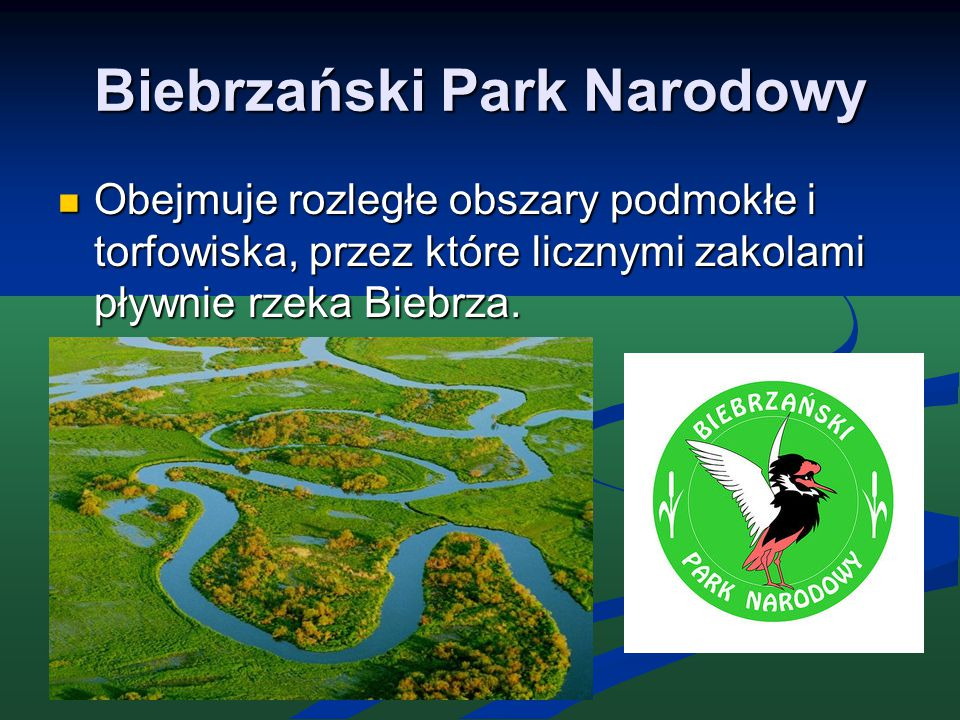 Biebrzański Park Narodowy Obejmuje rozległe obszary podmokłe i torfowiska, przez które licznymi zakolami pływnie rzeka Biebrza. Obejmuje rozległe obsz