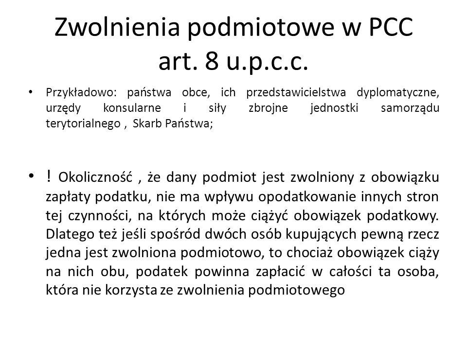Zwolnienia podmiotowe w PCC art. 8 u.p.c.c. Przykładowo: państwa obce, ich przedstawicielstwa dyplomatyczne, urzędy konsularne i siły zbrojne jednostk