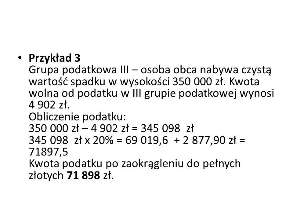 Przykład 3 Grupa podatkowa III – osoba obca nabywa czystą wartość spadku w wysokości 350 000 zł. Kwota wolna od podatku w III grupie podatkowej wynosi
