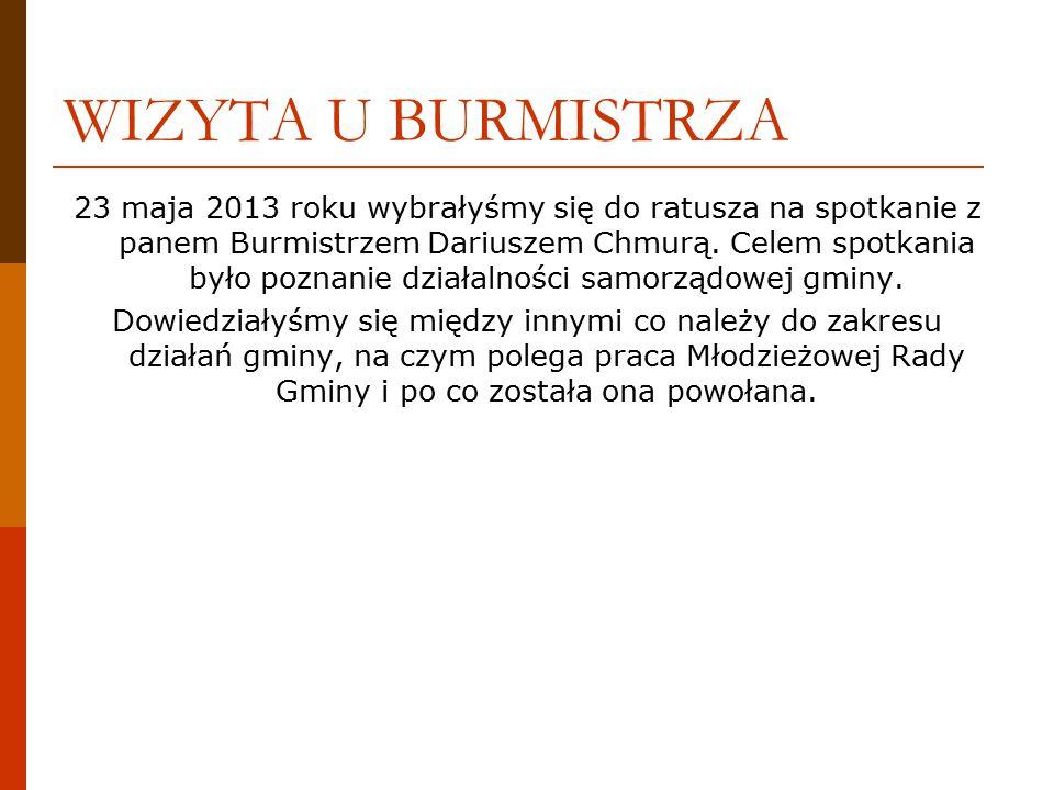WIZYTA U BURMISTRZA 23 maja 2013 roku wybrałyśmy się do ratusza na spotkanie z panem Burmistrzem Dariuszem Chmurą.